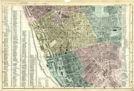 1891 Antique Map LIVERPOOL SOUTH Street Plan DOCKS Schools DETAILED Victorian